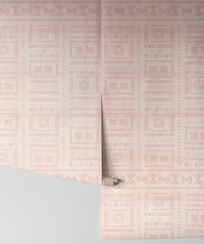 Tribal Mud Wallpaper in Blush from the Wallpaper Republic Collection by Milton & King