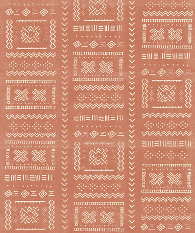 Tribal Mud Wallpaper in Terracotta from the Wallpaper Republic Collection by Milton & King