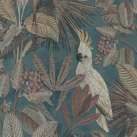Sample Tropical Paradise Wallpaper in Dark Blue by Walls Republic