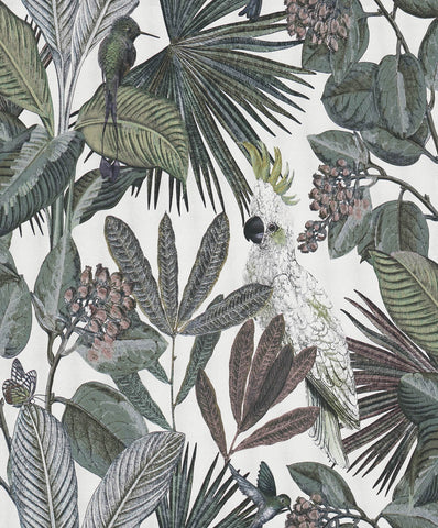 Sample Tropical Paradise Wallpaper in White by Walls Republic