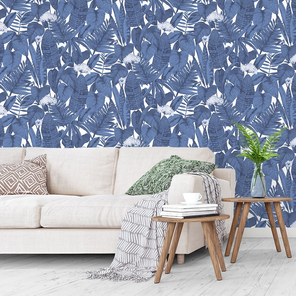 Tropical Self-Adhesive Wallpaper in Blue Raspberry by Tempaper