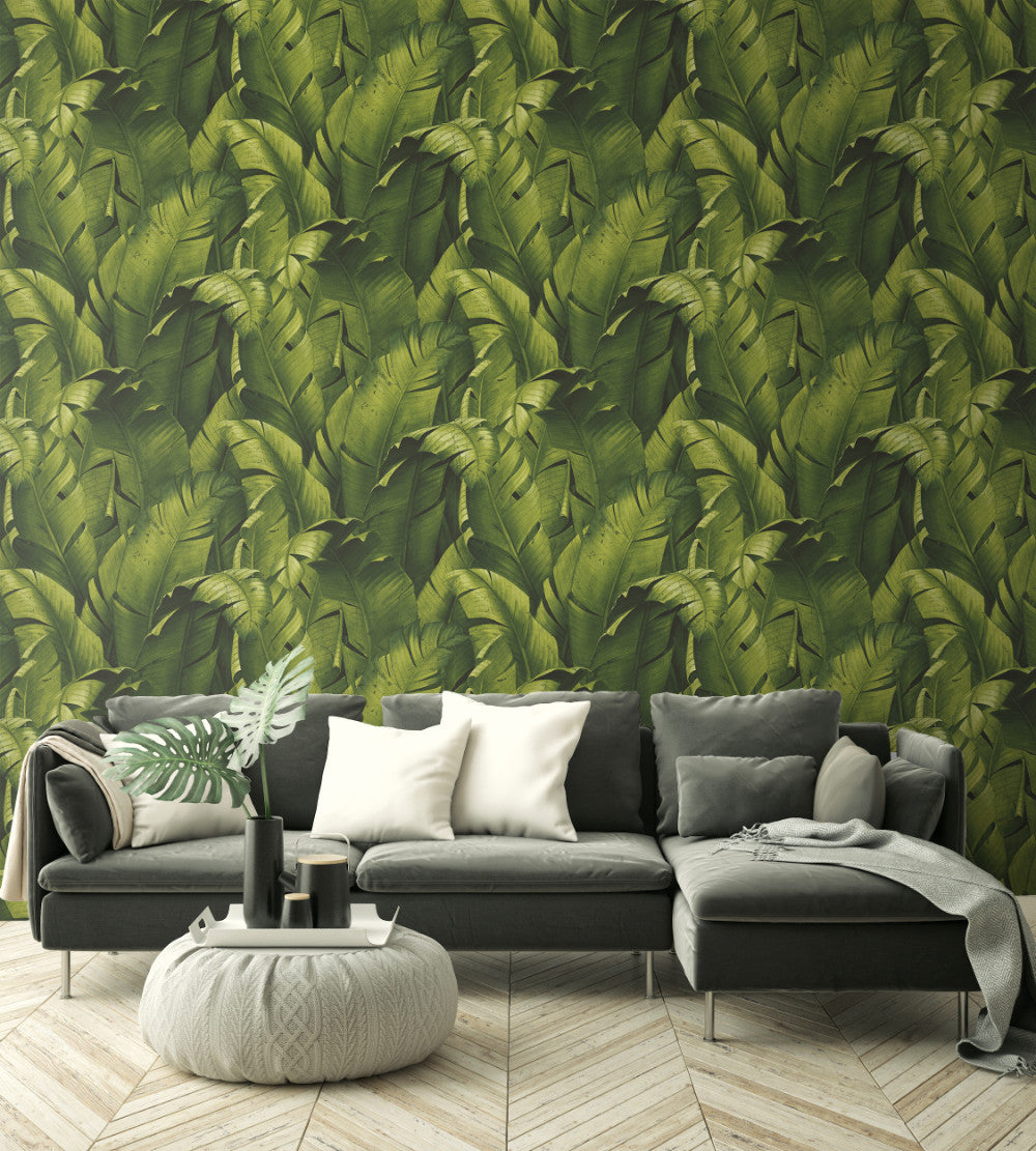 Tropical Banana Leaf Peel And Stick Wallpaper In Green By Nextwall Burke Decor
