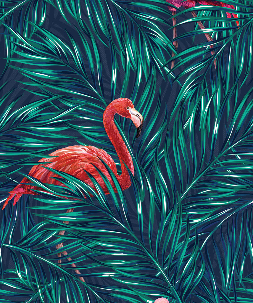 Sample Tropical Flamingos Wallpaper in Original from the Wallpaper Republic Collection by Milton & King