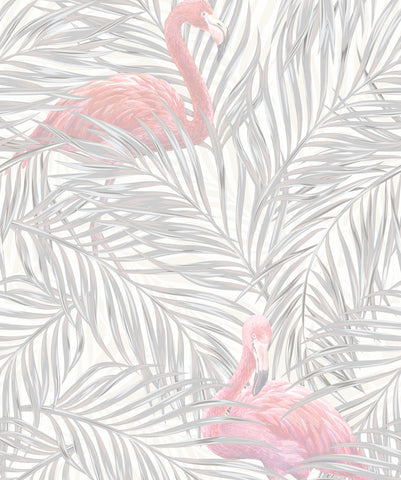 Tropical Flamingos Wallpaper in Subtle from the Wallpaper Republic Collection by Milton & King