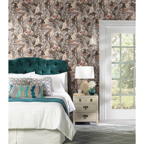 Tropical Flowers Peel & Stick Wallpaper in Beige by RoomMates for York Wallcoverings