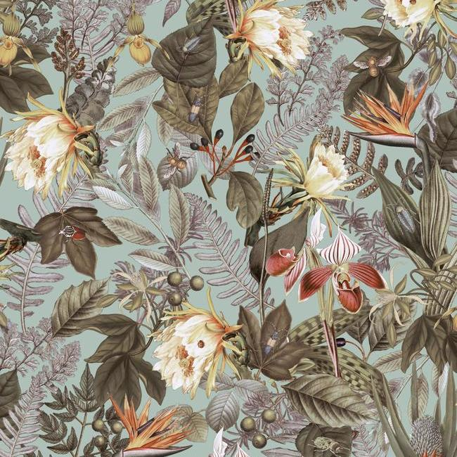 Tropical Flowers Peel Stick Wallpaper In Green By Roommates For York Burke Decor