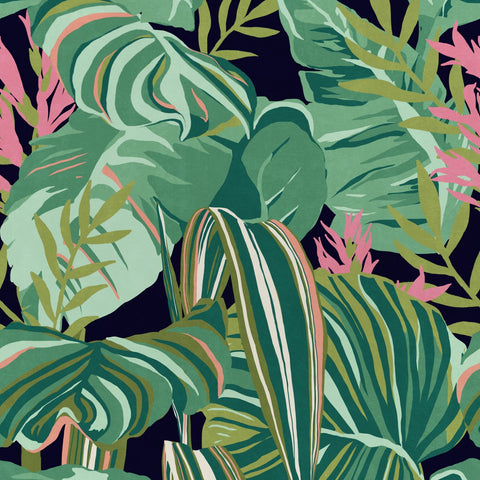 Tropical Foliage Wallpaper in Anthracite from the Palm Springs Collection by Mind the Gap