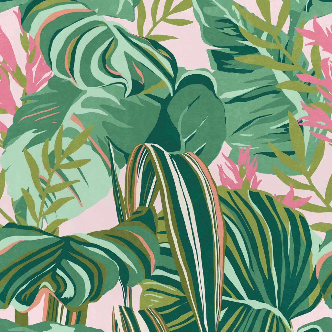 Tropical Foliage Wallpaper In Green And Pink From The Palm Springs Col Burke Decor