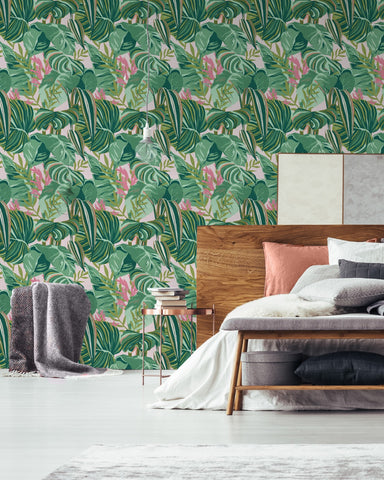 Tropical Foliage Wallpaper in Green and Pink from the Palm Springs Collection by Mind the Gap