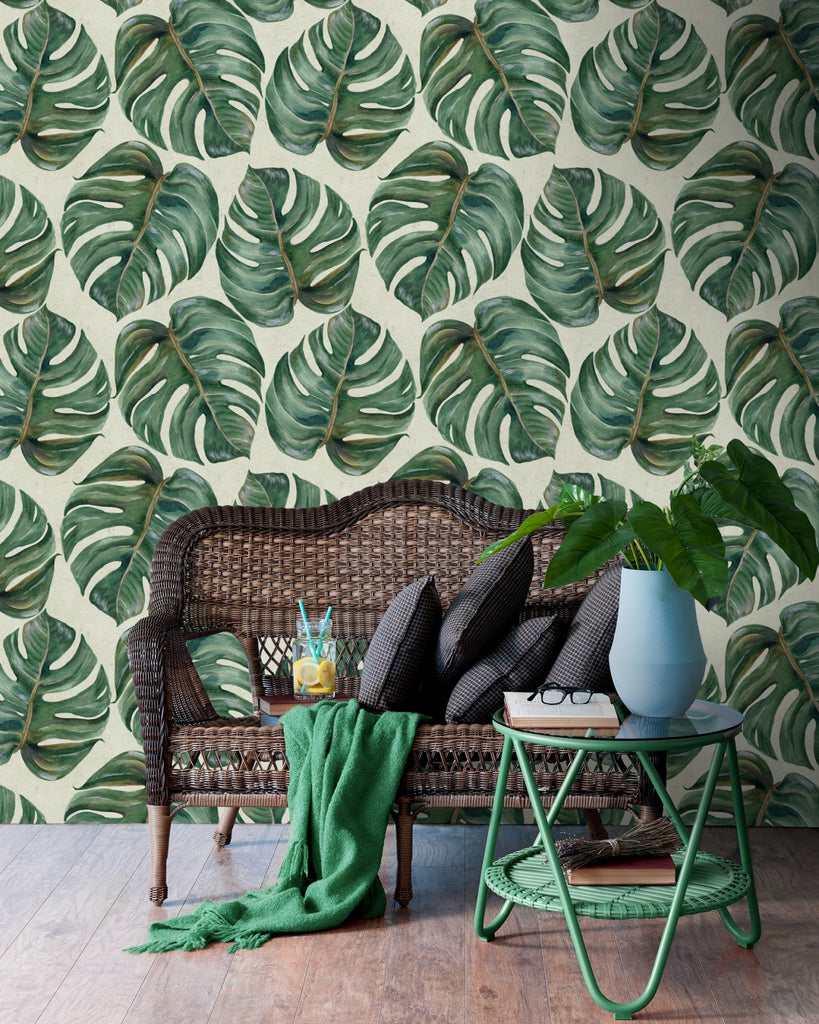 Tropical Leaf Wallpaper in Beige and Green from the Tropical Vibes Collection by Mind the Gap