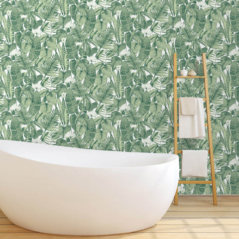 Tropical Self Adhesive Wallpaper in Jungle Green design by Tempaper