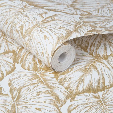 Tropical Wallpaper in Pearl and Gold from the Exclusives Collection by Graham & Brown