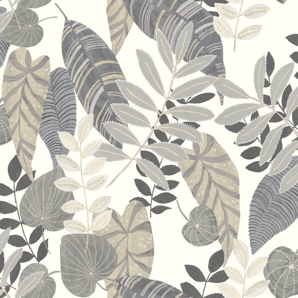 Sample Tropicana Leaves Wallpaper in Charcoal, Stone, and Daydream Grey from the Boho Rhapsody Collection by Seabrook Wallcoverings