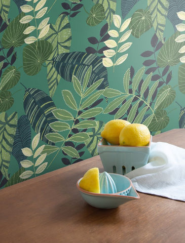 Tropicana Leaves Wallpaper in Jade, Rosemary, and Spruce from the Boho Rhapsody Collection by Seabrook Wallcoverings