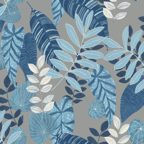 Tropicana Leaves Wallpaper in Metallic Grey, Sky Blue, and Champlain from the Boho Rhapsody Collection by Seabrook Wallcoverings
