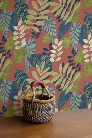 Tropicana Leaves Wallpaper in Redwood, Olive, and Washed Denim from the Boho Rhapsody Collection by Seabrook Wallcoverings