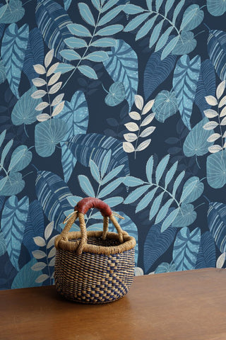 Tropicana Leaves Wallpaper in Sky Blue and Champlain from the Boho Rhapsody Collection by Seabrook Wallcoverings