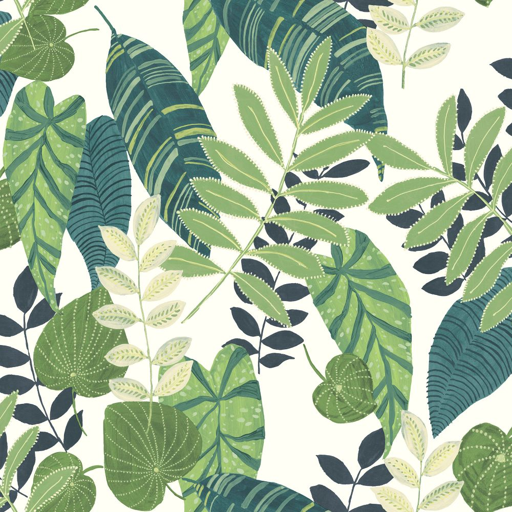 Sample Tropicana Leaves Wallpaper in Viridian and Dill from the Boho Rhapsody Collection by Seabrook Wallcoverings