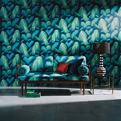 Tropicana Wallpaper in Petrol and Emerald by Matthew Williamson for Osborne & Little