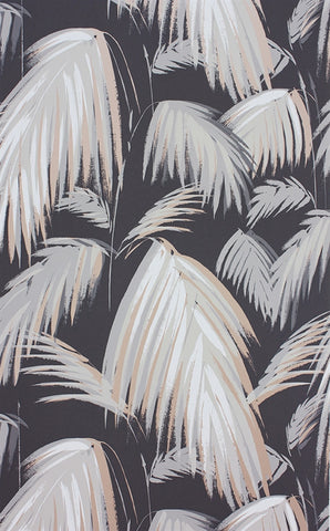 Tropicana Wallpaper in Dark Grey and Neutral by Matthew Williamson for Osborne & Little