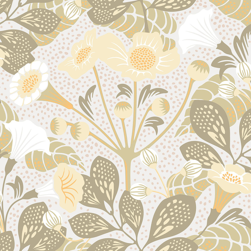 Sample Tropisk Green Floral Wallpaper from the Wonderland Collection by Brewster Home Fashions