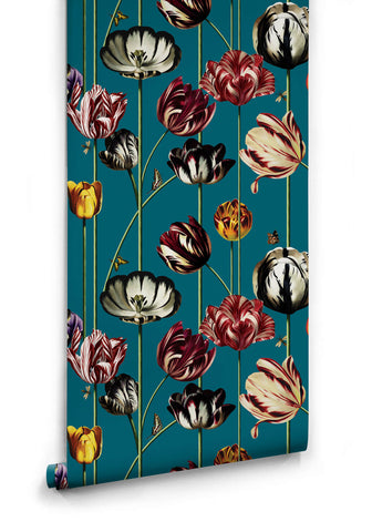 Tulipa Wallpaper (Two Rolls) in Blue from the Kingdom Home Collection by Milton & King