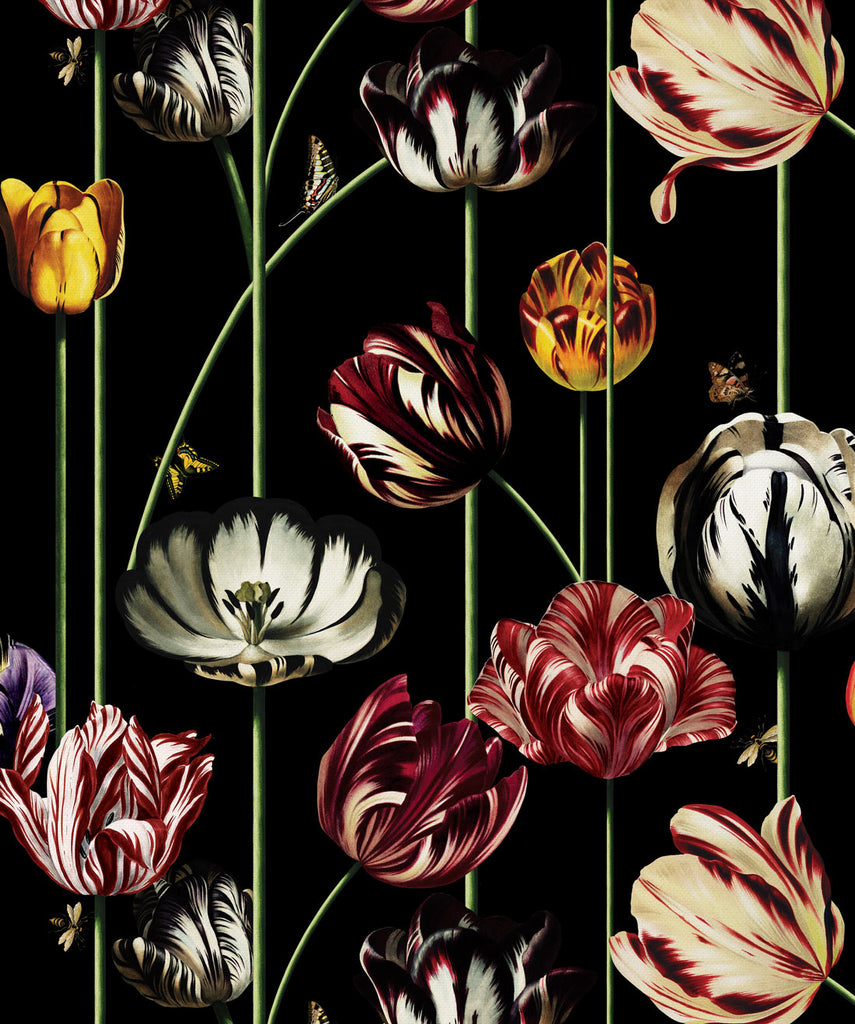 Tulipa Wallpaper (Two Rolls) in Lux Night from the Kingdom Home Collection by Milton & King