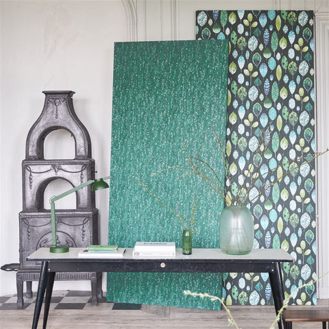 Tulsi Wallpaper in Viridian from the Zardozi Collection by Designers Guild