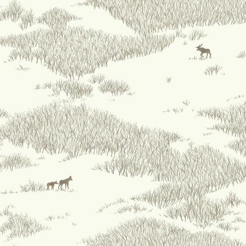 Tundra Scenic Wallpaper in Ivory and Brown from the Norlander Collection by York Wallcoverings