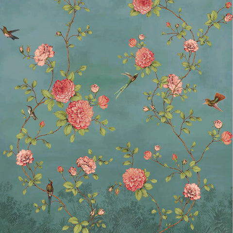 Sample Turquoise Blooming Chinoiserie Wall Mural by Walls Republic