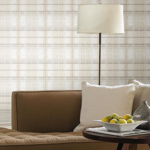 Tweed Plaid Peel & Stick Wallpaper in Beige by RoomMates for York Wallcoverings