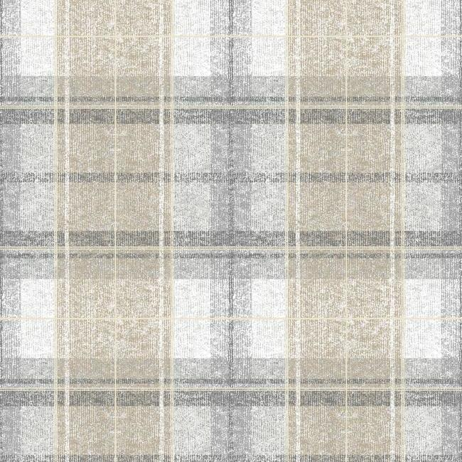 Sample Tweed Plaid Peel & Stick Wallpaper in Grey by RoomMates for York Wallcoverings