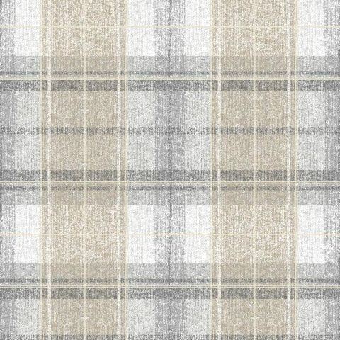 Tweed Plaid Peel & Stick Wallpaper in Grey by RoomMates for York Wallcoverings