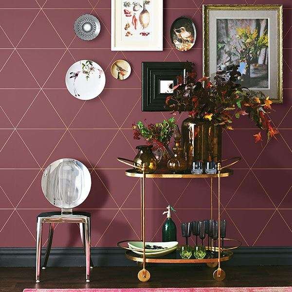 Twilight Geometric Wallpaper in Red from the Moonlight Collection by Brewster Home Fashions