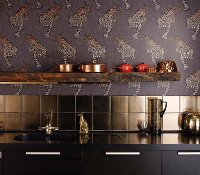 Tyger Tyger Wallpaper in Dark Violet and Rose by Matthew Williamson for Osborne & Little