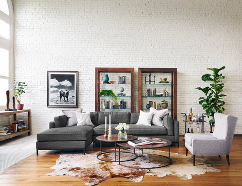 Grammercy 2 Pc Sectional Laf Chaise in Bennett Charcoal