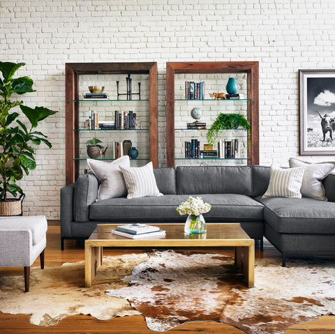Grammercy Two Piece Chaise Sectional in Bennett Charcoal
