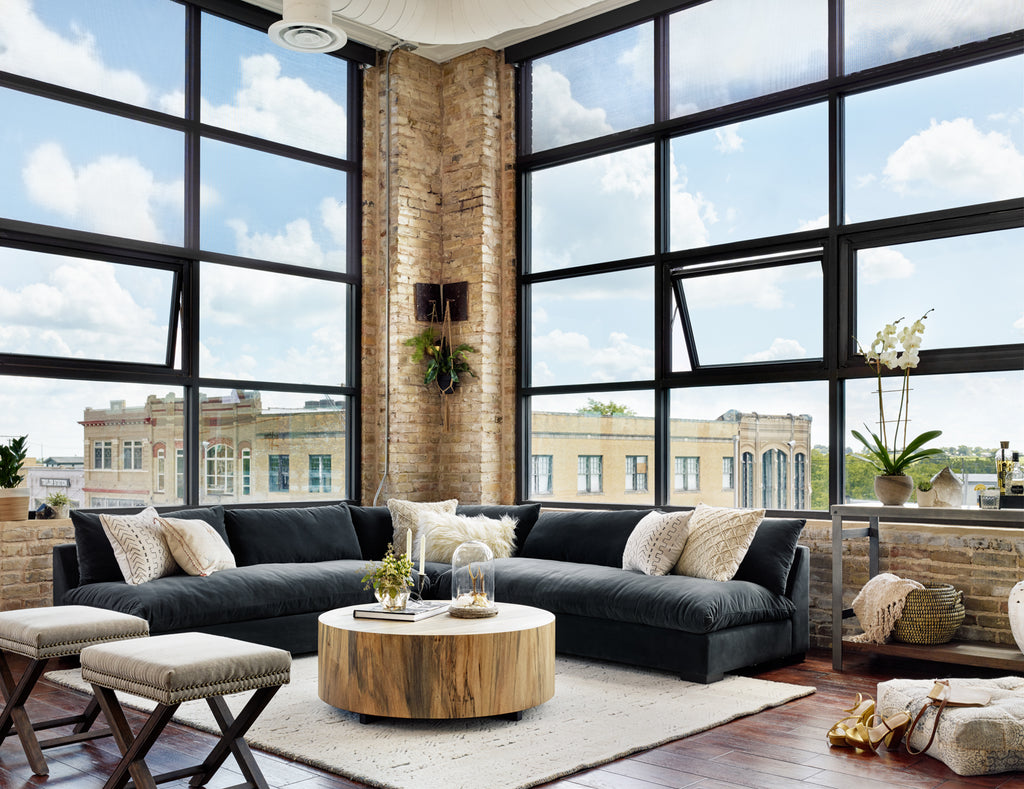 Grant Sectional in Henry Charcoal