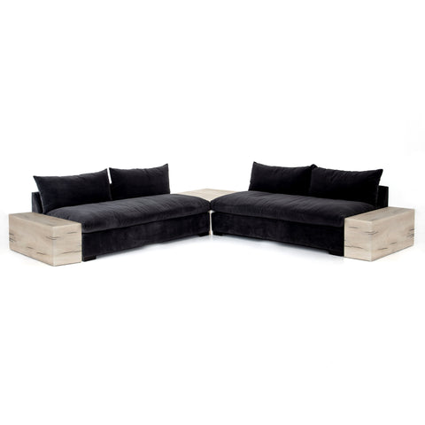 Grant 2-Piece Sectional w/ Corner & End Table in Henry Charcoal