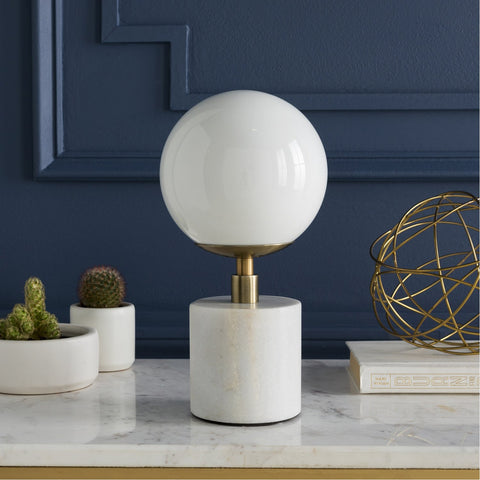 Una UNA-001 Table Lamp in Antiqued Brass & White by Surya