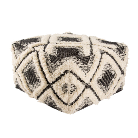 Aaltos Whisper White & Moonless Night Geometric Pouf design by Nikki Chu