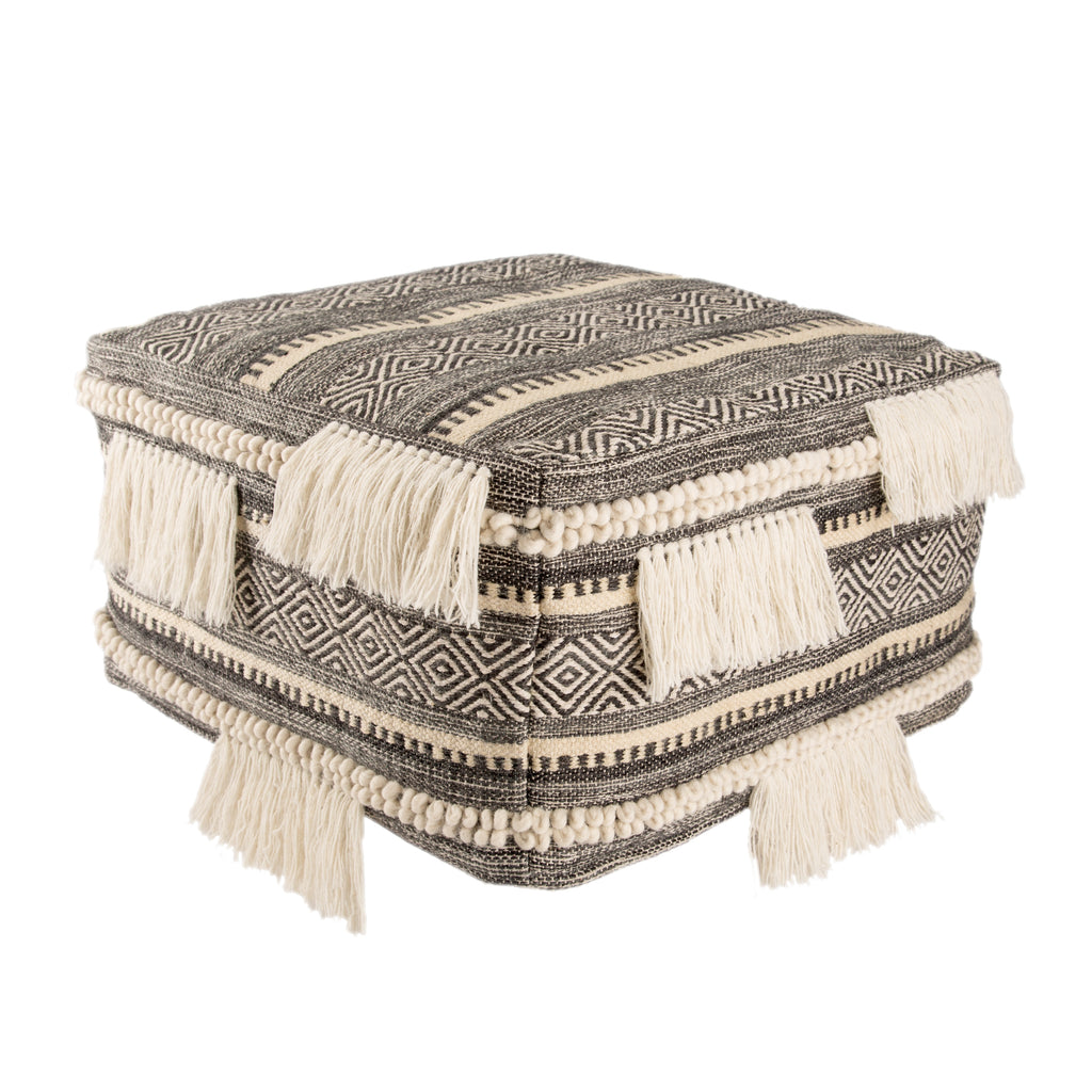 Bahri Whisper White & Dark Shadow Tribal Pouf design by Nikki Chu for Jaipur Living