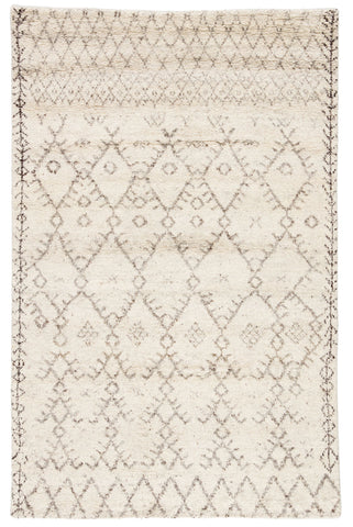Zola Hand-Knotted Geometric Ivory & Brown Area Rug
