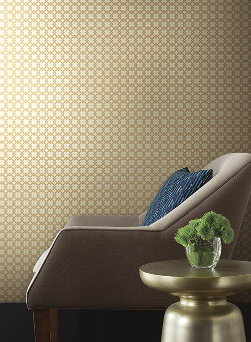 Unison geometric wallpaper in gold by ashford house for for Unison house