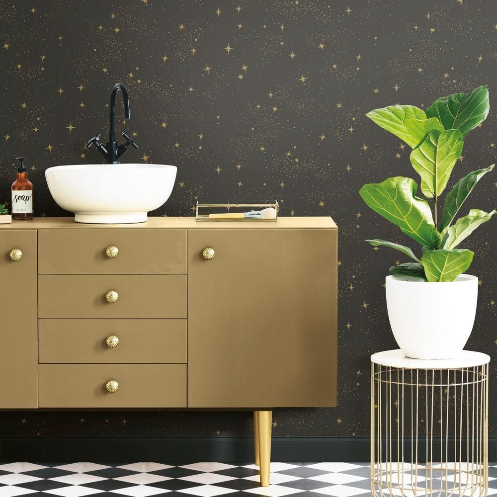 Upon A Star Peel & Stick Wallpaper in Black and Grey by RoomMates for York Wallcoverings