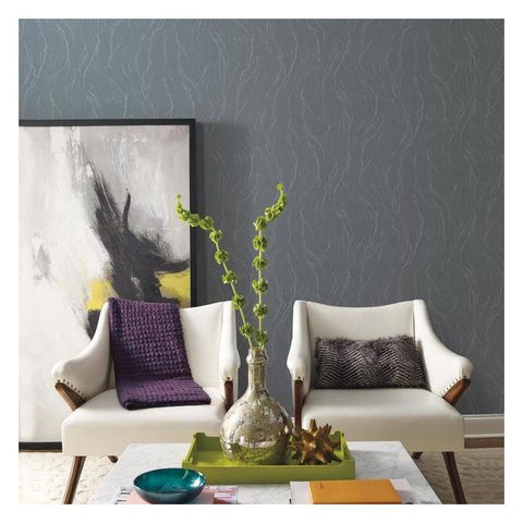 Upstream Wallpaper in Charcoal from the Urban Oasis Collection by York Wallcoverings