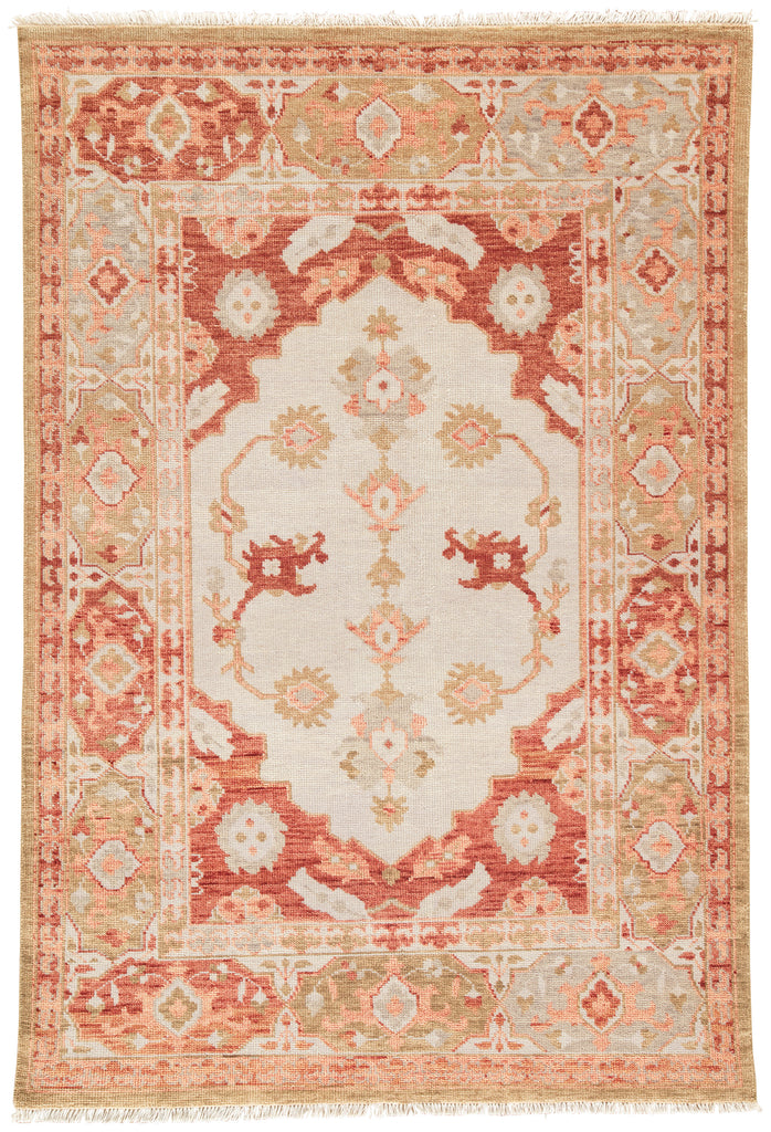Azra Hand-Knotted Floral Red & Tan Area Rug