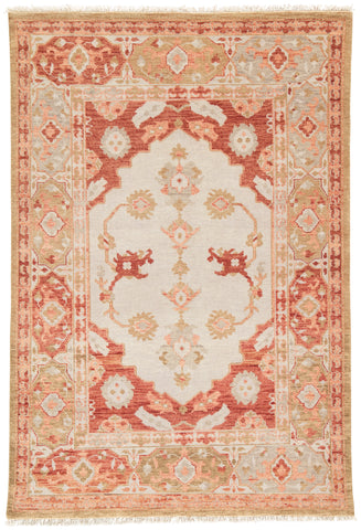 Azra Floral Rug in Tan & Bruschetta design by Artemis for Jaipur