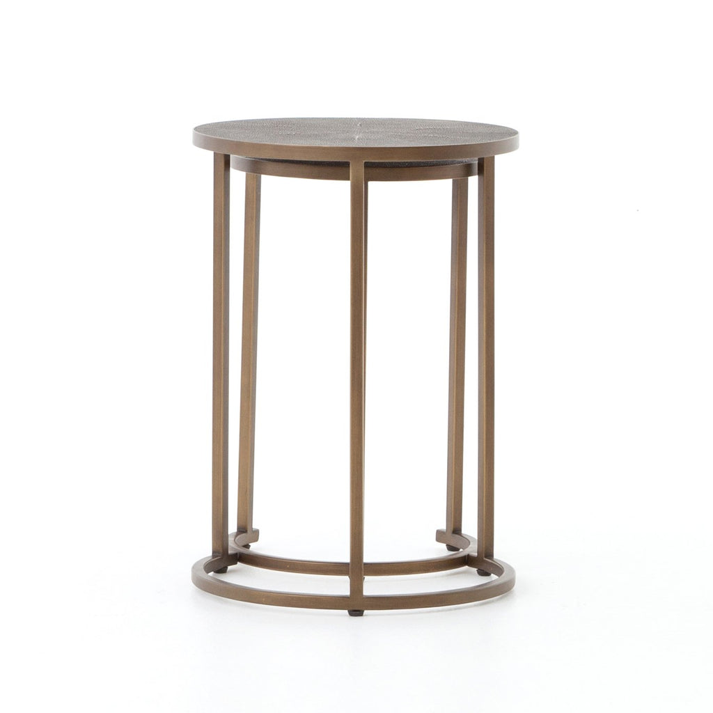 Shagreen Nesting Table in Antique Brass by BD Studio