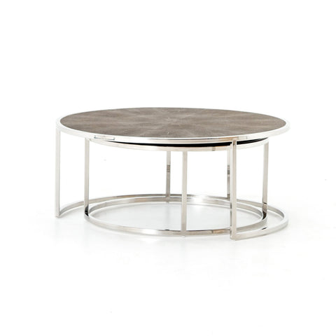 Shagreen Nesting Coffee Table in Stainless